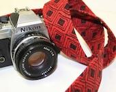 Camera Strap for Slr, Dslr - Red Black Geometric Diamonds -  by Howard Avenue