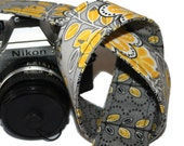 SLR, DSLR Camera Strap - Reversible Grey and Yellow Florals with genuine leather tabs by HowardAvenue - genuine leather