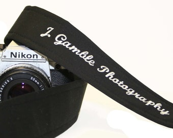 Custom Embroidered SLR, DSLR camera strap   Black with genuine leather tabs by Howard Avenue