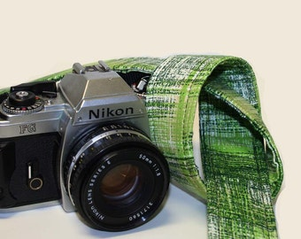 Custom Handmade Fabric Camera Strap - Green Textured Plaid - SLR, DSLR