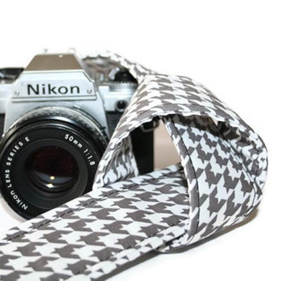 Camera Strap - Grey, White Houndstooth - SLR, DSLR by Howard Avenue