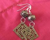 Oriental styled Sterling silver and brass filligree earrings Custom designer jewelry Australian Designer MSIA team jewellery