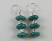 Turquoise and sterling silver earrings Custom designer jewelry Australian Designer MSIA team jewellery