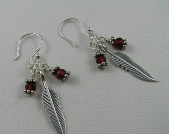 Sterling Silver and garnet earrings Custom designer jewelry Australian Designer MSIA team jewellery