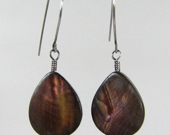 Brown Mother of pearl sterling silver oxidized earrings Custom designer jewelry Australian Designer MSIA team jewellery