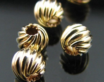 14kt G/F Gold filled 8 mm round fancy twisted corrugated bead (NOT PLATED) 5