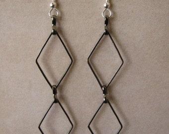 Sterling silver and gunmetal chain earrings Custom designer jewelry Australian Designer MSIA team jewellery