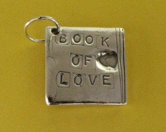 PMC .999 silver pendant book of love with soldered jump ring