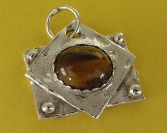 PMC .999 silver pendant with tiger eye cabochon Custom designer jewelry Australian Designer MSIA team jewellery