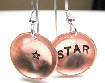 Copper Disc earrings.. Star Custom designer jewelry Australian Designer MSIA team jewellery