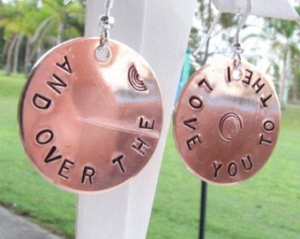 copper hand stamped earrings