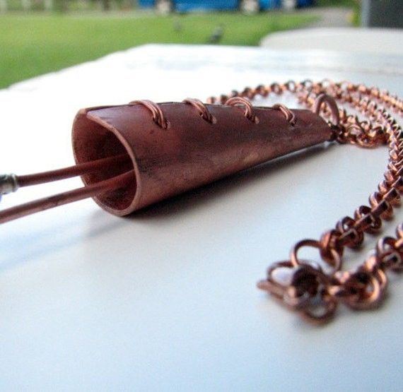 Stitched copper necklace