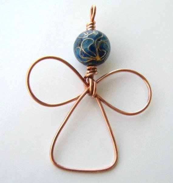Cloisonne and copper angel pendant