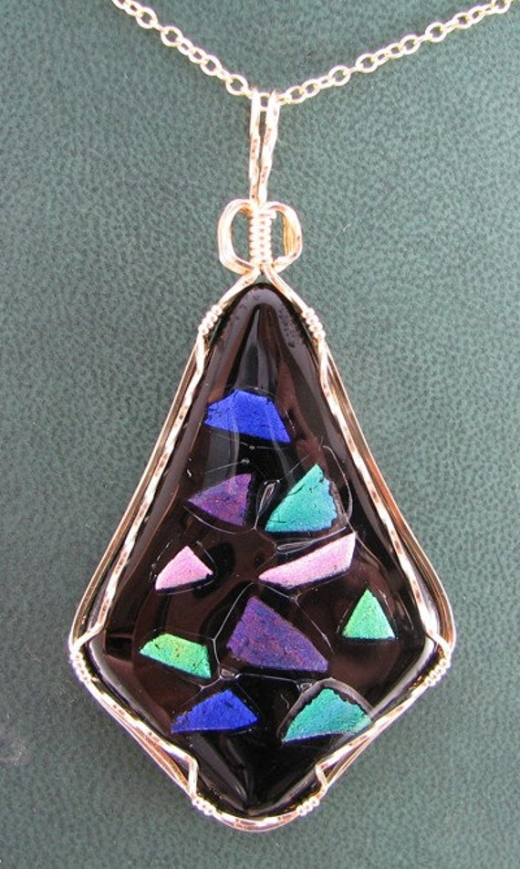 Sale.. REduced... Dichroic glass kite shape pendant with 14kt Gold Filled wire Custom designer jewelry Australian Designer MSIA team jewellery