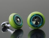 Circle Cufflinks of Glass and Silver in Lime, Turquoise, and Gray