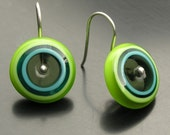 Circle Earrings in Lime, Turquoise, Teal, and Charcoal - Ready to ship