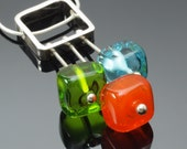 New Stem Necklace in Tangerine Green and Aqua - Made to Order