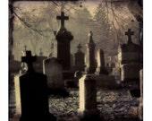 Crosses Graveyard Tombstones Eerie Photograph