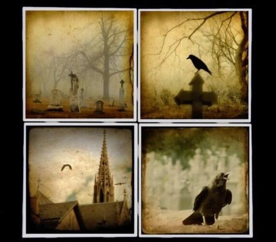 Crow images coaster set - Gothic raven art