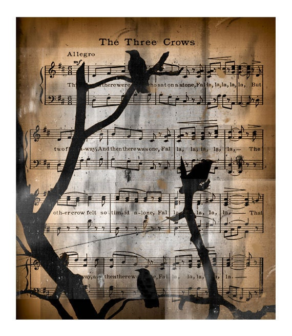 birds, Musical Notes, Crow compilation, Vintage song music, collage print - The three crows