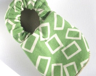 Green Rectangle Soft Soled Baby Shoes 0-6mo