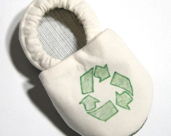 Recycle Organic Cotton Soft Soled Baby Shoes 6-12 mo