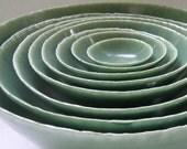 Set of Eight Nesting Lichen Ceramic Bowls