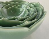 Five Ceramic Nesting Lotus Bowls in Green