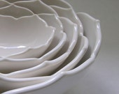 Ceramic Nesting Lotus Bowls Set of Five in White for Dining, Entertaining, Home Decor