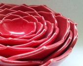 Ceramic Nesting Bowls Serving Bowls Set of Eight Red Bowls or Your Choice of Color