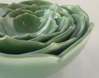Ceramic Nesting Lotus Bowls Serving Bowls Set of Five Green Bowls or Your Choice of Color