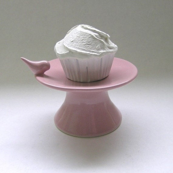 Ceramic Bird Cupcake Stand in Pink