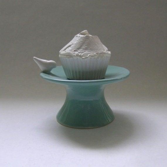 Bird Ceramic Cupcake Stand in Robin Egg Blue