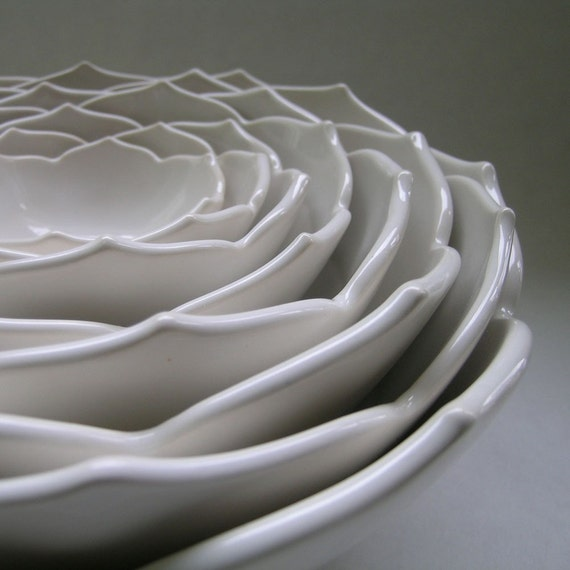 Nesting Ceramic Lotus Bowls Set of Eight