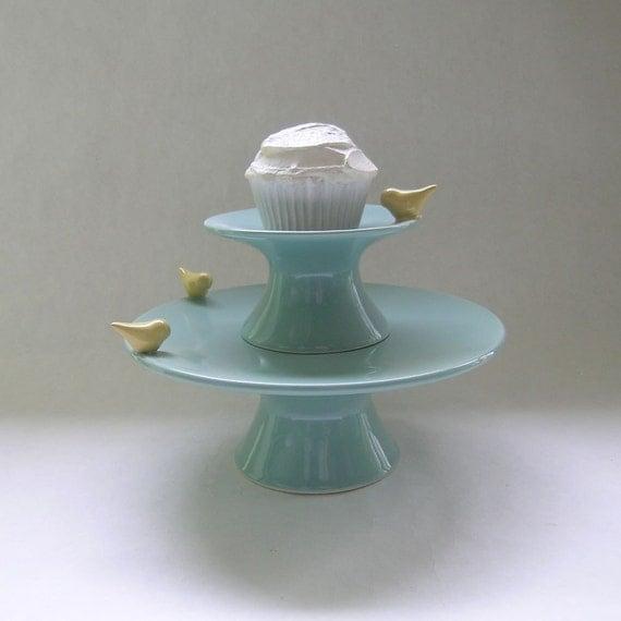Bird Cake and Cupcake Ceramic Stand in Robin Egg Blue