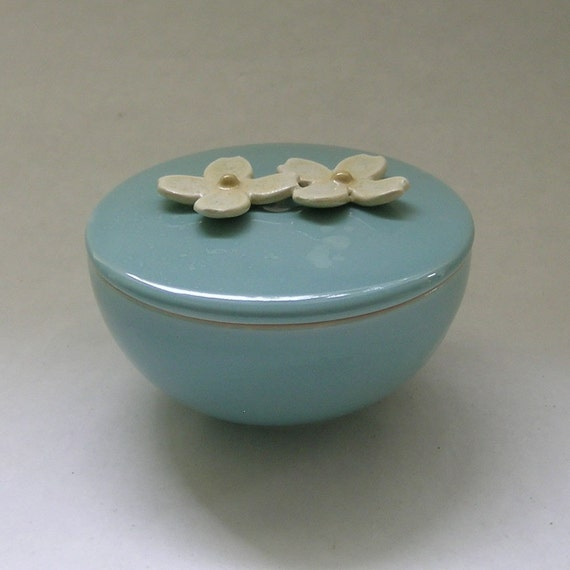 Ceramic Lidded Vessel with Dogwood Flower in Robin Egg Blue