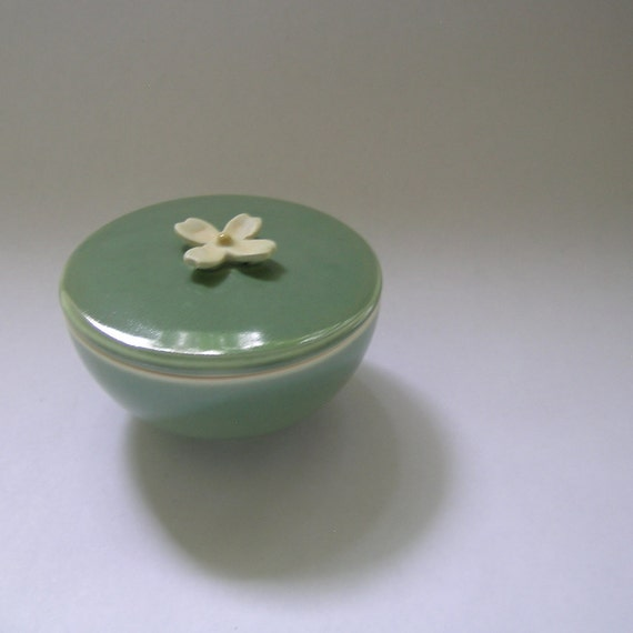 Dogwood Flower Ceramic Lidded Vessel