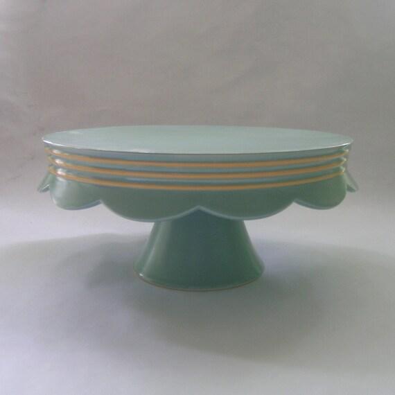 Scallop Edge Ceramic Cake Stand in Robin Egg Blue