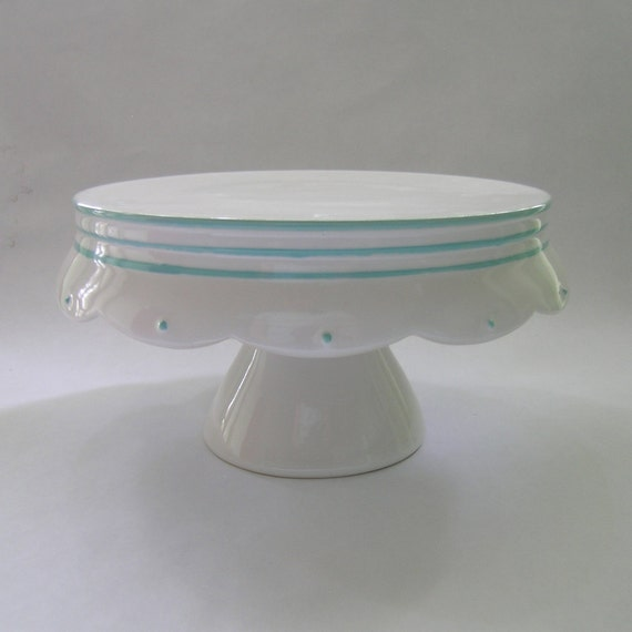 Scallop Edge Ceramic Cake Stand in White with Blue Stripes