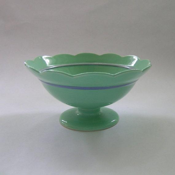 SALE Ceramic Dessert Bowl with Scalloped Edge in Vintage Vintage Green