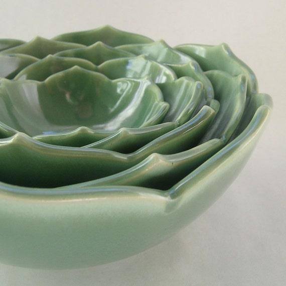 SALE Five Nesting Lotus Bowls