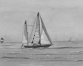 CRUSIN' NEW PRINT Landscape seascape drawing sailboat ocean watercolor art