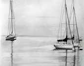 Sailboats art print pencil art artwork original drawing pencil drawing sailboat drawing