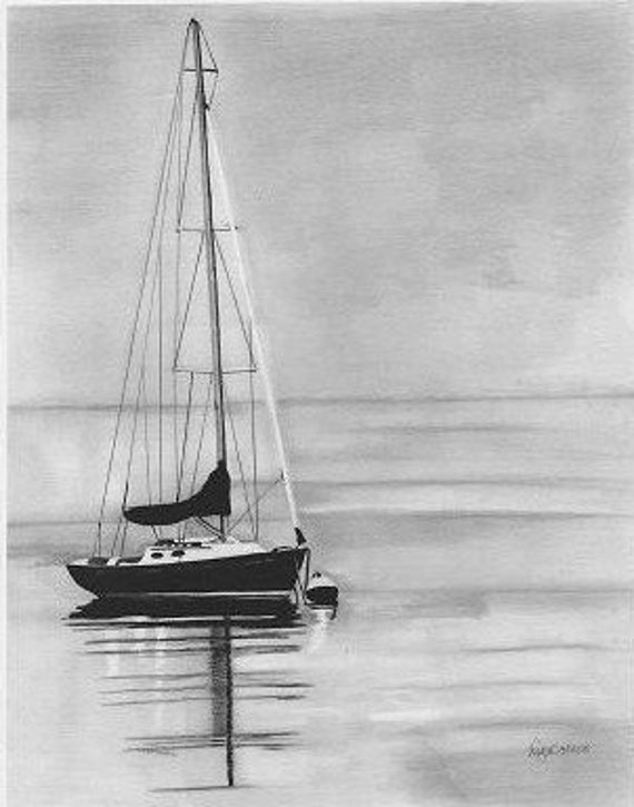 Items similar to sailboats fine art pencil drawing ocean ...