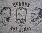 Secret Lovers - Beards Not Bombs tshirt - Athletic Grey - UNISEX LARGE