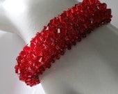 Red crystal beadwork bracelet crystal tassel bracelet, beadweaving beaded jewelry silver bracelet