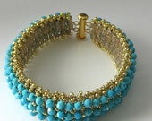 Turquoise crystal cuff beaded bracelet, Swarovski crystal and gold, beaded jewelry