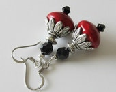 Red coral beaded earringswith jet black Swarovski crystals, silver drop earrings, beaded jewelry