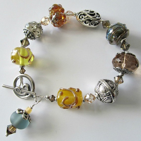 Lampwork bracelet silver and mixed lampwork Wild Honey, yellow, caramel, sage green,  beaded jewelry
