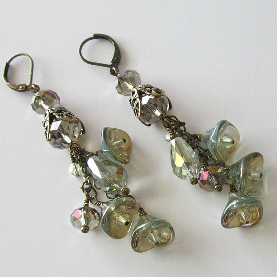 Long earrings, lucite flowers, iridescent light olive green with crystals and antique brass